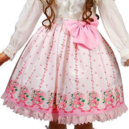 8mm Women's Pink Floral Pattern Lolita Skirt L(US Size M)