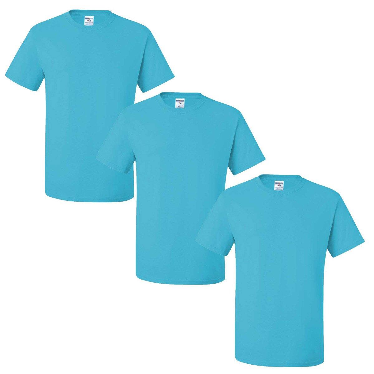 Jerzees メンズ 大人用 半袖Tシャツ(3枚組) B01CZYKFY4 S|アクアティックブルー アクアティックブルー S