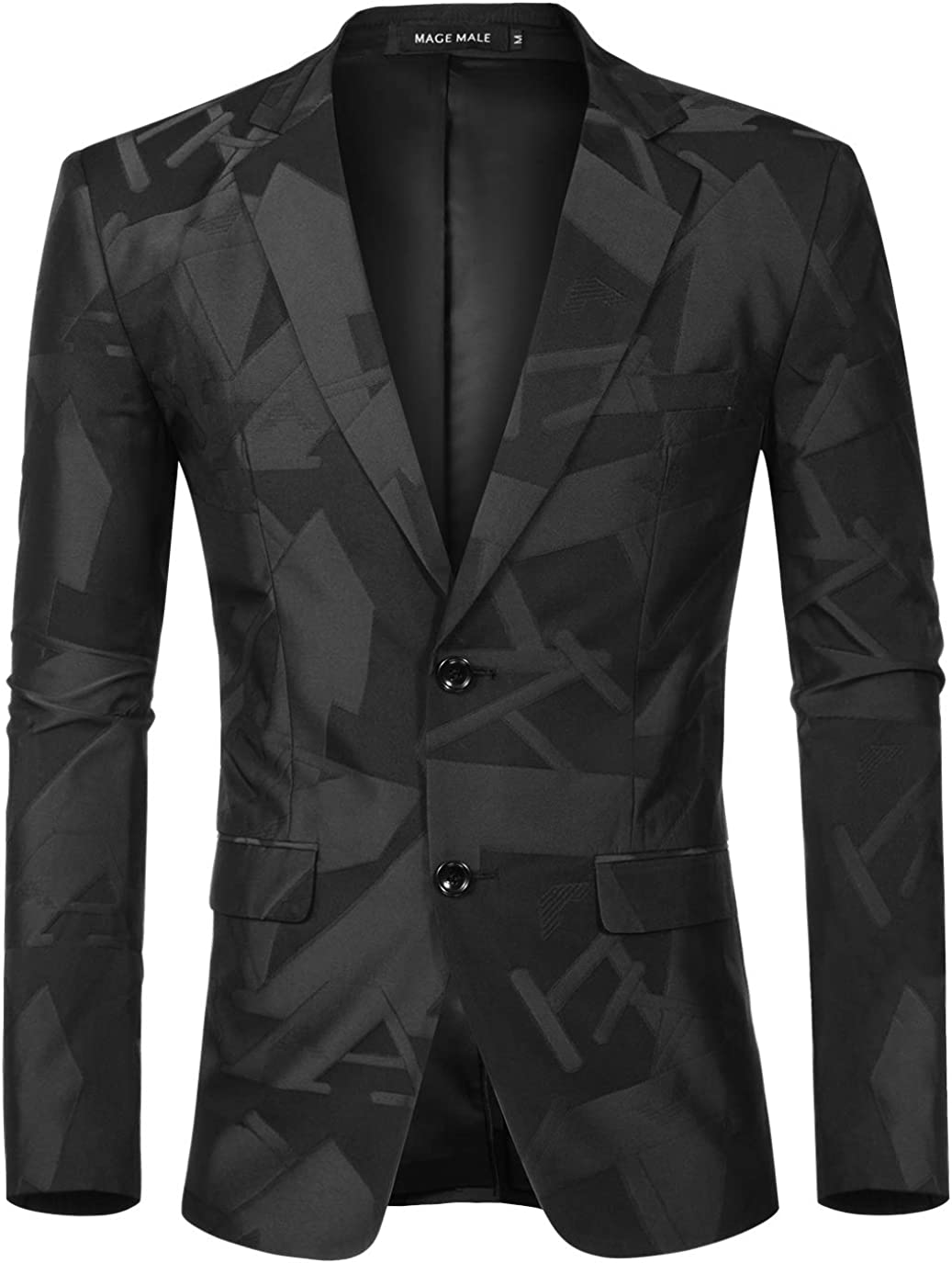 MAGE MALE Men's Dress Floral Blazer Suit Slim Fit Two Button Notched Lapel Elegant Prom Party Tuxedo Suit Jacket