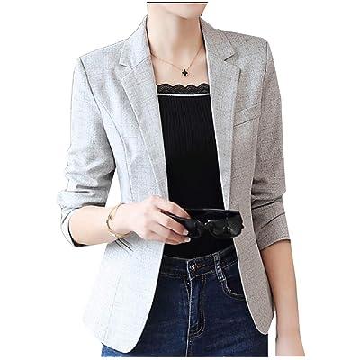 Andopa Con curvas de negocios formales adapta a la chaqueta blazer muesca solapa delgada para Mujeres: Ropa y accesorios