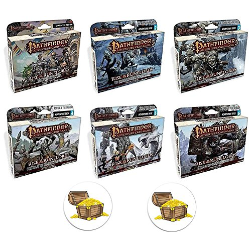 BUNDLE of All 6 Pathfinder Adventure Card Game Rise of the Runelords Expansion Decks Plus 2 Treasure Chest Buttons by Pathfinder