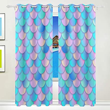 Jerecy Colorful Mermaid Scale Window Curtains Blackout Grommet Treatment D Living Room Bedroom Home