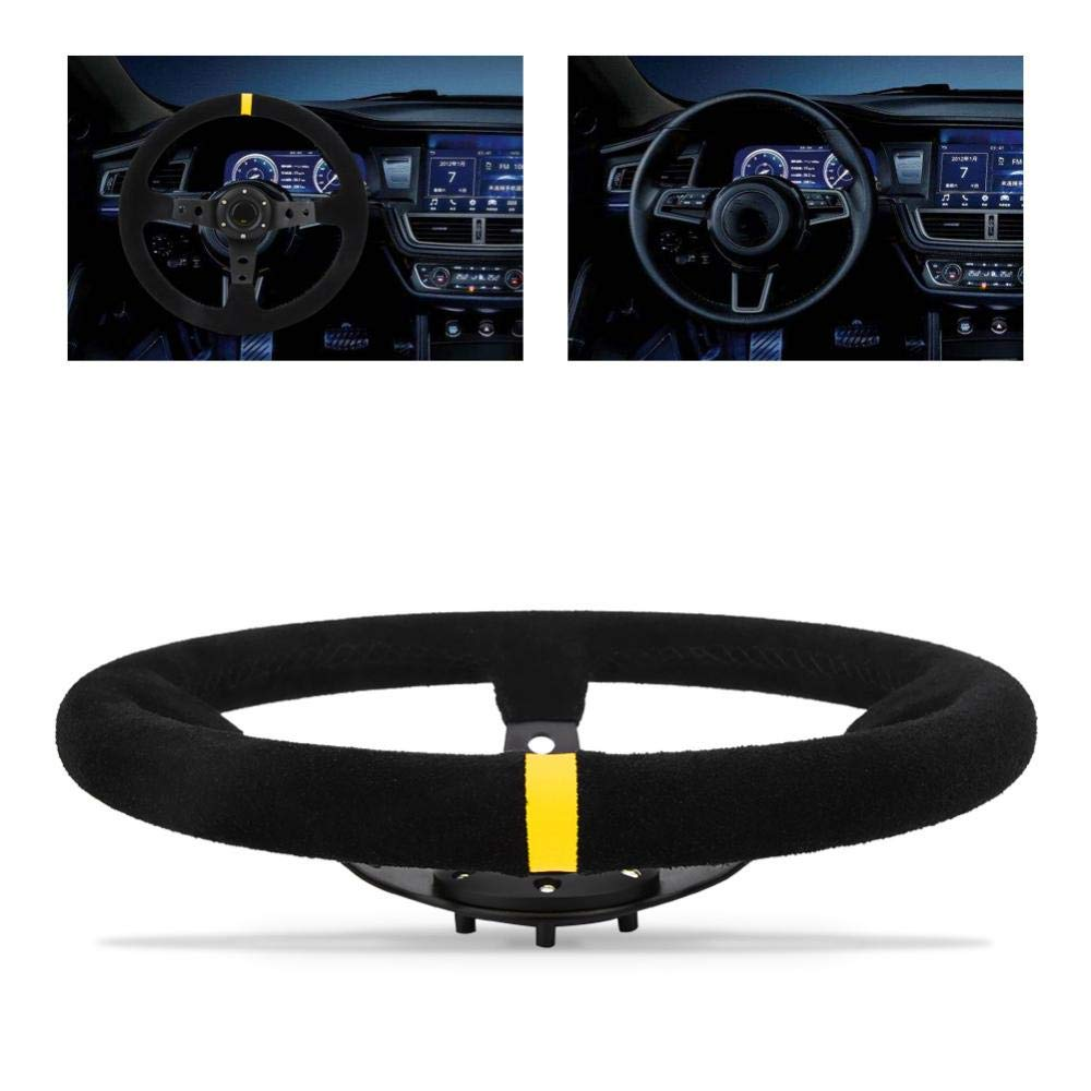 Car Steering Wheel Blue Universal 35cm//14inch 6-Bolts Auto Car Racing Steering Wheel with Horn