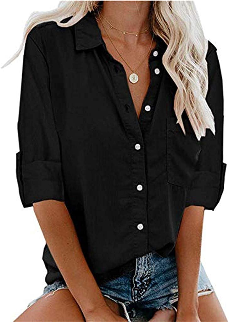 Forthery Summer Womens Button Down Shirts Short Sleeve Shirts V-Neck Collared Blouse Tops with Pockets