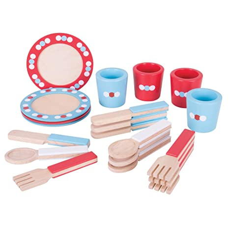 Bigjigs Toys Wooden Dinnerware Set - Pretend Play and Role Play For Children  sc 1 st  Amazon.com & Amazon.com: Bigjigs Toys Wooden Dinnerware Set - Pretend Play and ...