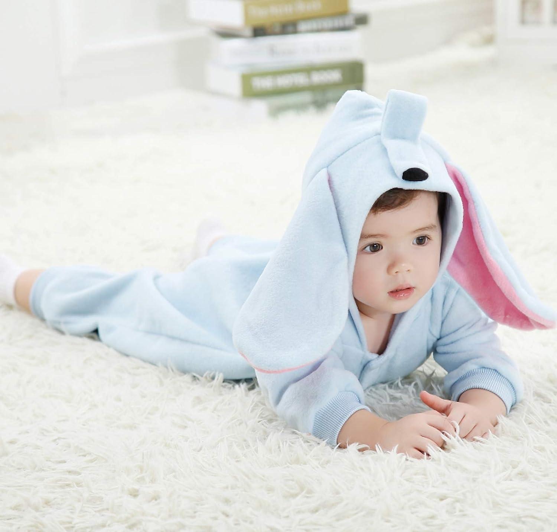 WSLCN Unisexe B/éb/é Grenouill/ères Combinaison Barboteuses D/éguisement Manteau Capuche Mignon Stitch Pyjama Forme Animal Costume de Enfants