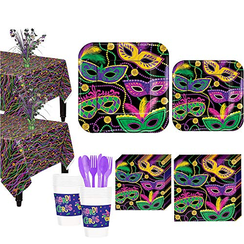 Party City Mardi Gras Masquerade Mask Tableware Kit for 16 Guests, Includes Plates, Napkins, and Centerpieces -