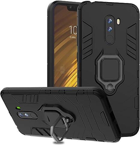 Ferilinso Funda para Xiaomi Pocophone F1,Elegante Armadura híbrida Robusta Funda de Doble Capa de Alta Resistencia para PC Duro Caso con Anillo Grip Kickstand y Soporte de (Negro): Amazon.es: Electrónica