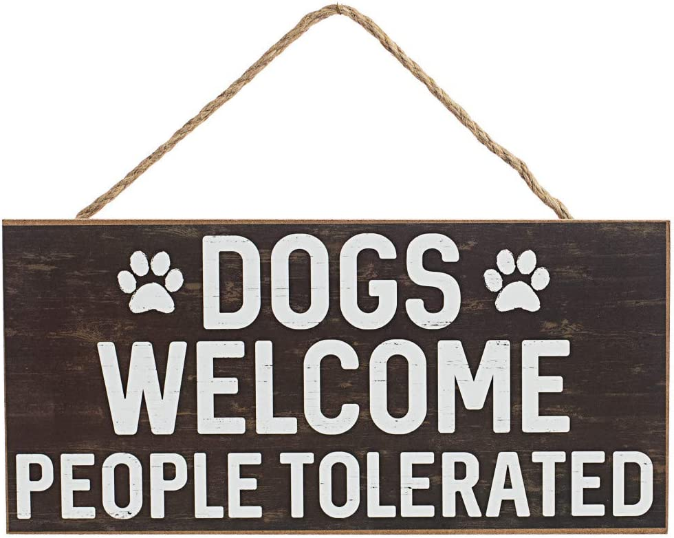 "GiftWrap Etc. Dogs Welcome People Tolerated Sign - 12.5"" x 6"", Brown Wood Board, Dog Lover, Wreath, Yard Decoration, Office Decor, Home, Kitchen, Front Door, Patio"