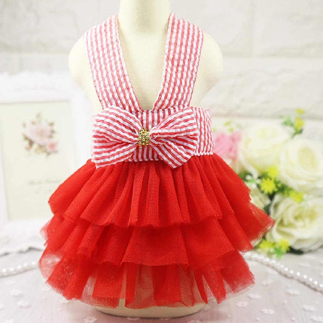 Girl Dog Stripe Print Dress Lace Bowknot Tutu Dresses Pet Cat Puppy Costumes Apparel Skirt Clothes