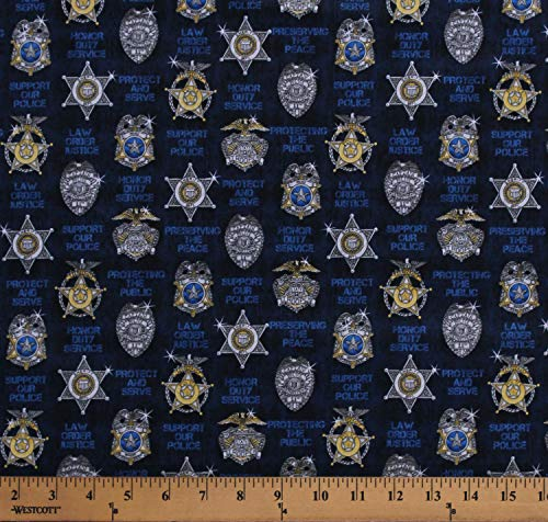 Cotton Police Badges Insignia Emblems Protect & Serve Police Officers Sheriff Dept. Cops Law Enforcement Mottos on Dark Blue Cotton Fabric Print by The Yard (D569.51)