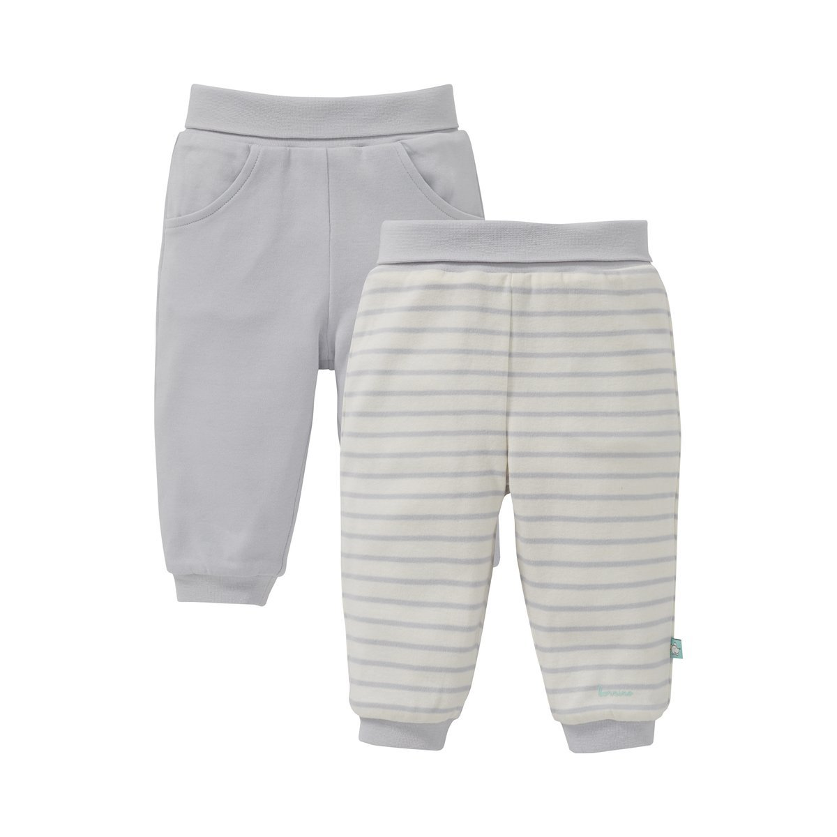 Bornino Mouse & Elephant Wendehose/Sweathose / Jogginghose - Farbe: weiß/Natur/Grau Gestreift und Grau, Wendbar, Sweat, Öko-Tex Zertifiziert - für Mädchen/Jungen