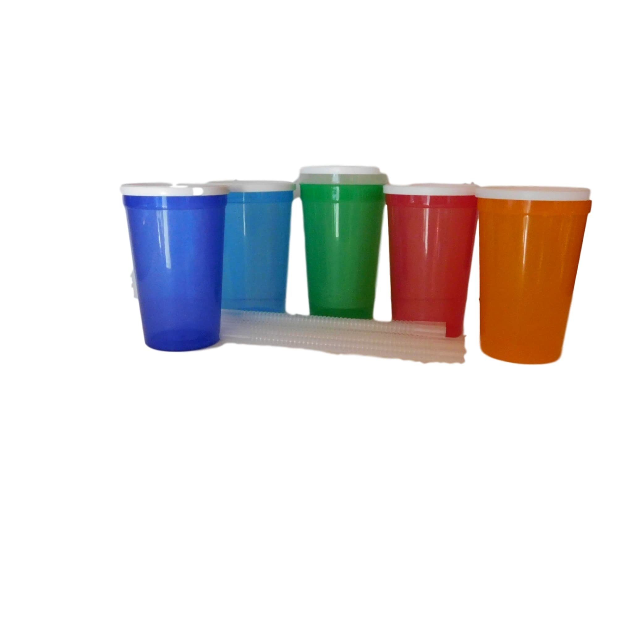 Talisman, Large 20 Ounce Plastic Drinking Glasses, Lids and Straws, 14 Pack, Mix Translucent Colors