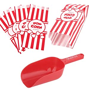 Poppy's Popcorn Scoop and Popcorn Bags Bundle, Nostalgic Popcorn Accessories for Popcorn Machine and Popcorn Bar, Popcorn Scooper and Bags for Carnival Movie Night Circus Party Supplies (50)
