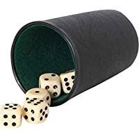 Jonquin Dice Cup with 5 Dices, Leather Felt Lined Mini Dice Shaker - Cup Set