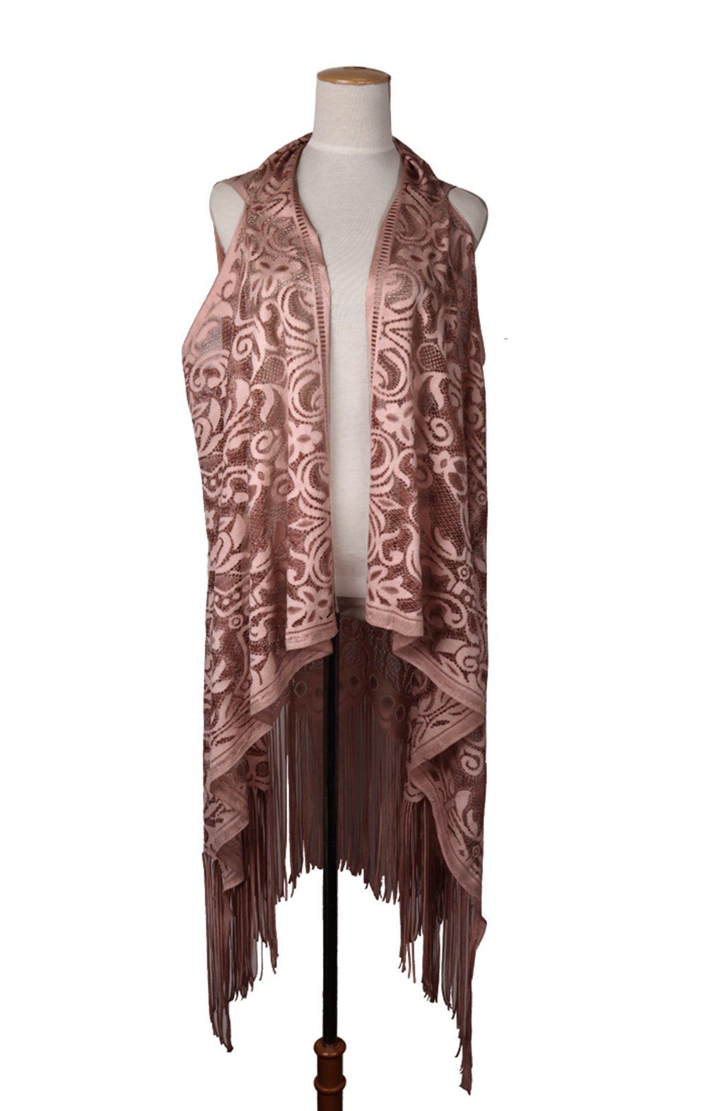 MissShorthair Womens Open Front Lace Cardigan Plain Sleeveless Asymmetric Draped Hem Vest Coverup