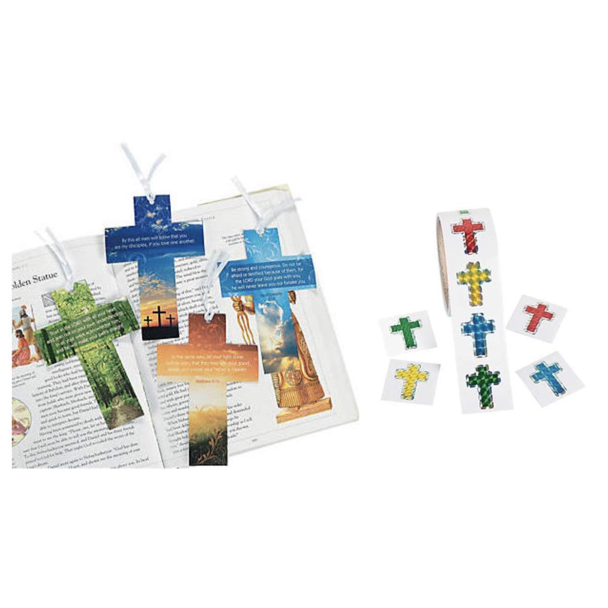 100 Prism Cross Stickers & 24 Religious Inspirational Bookmarks - 6'' w/Live Photography - Christian Gift - Education VBS Vacation Bible School Church Groups Christmas