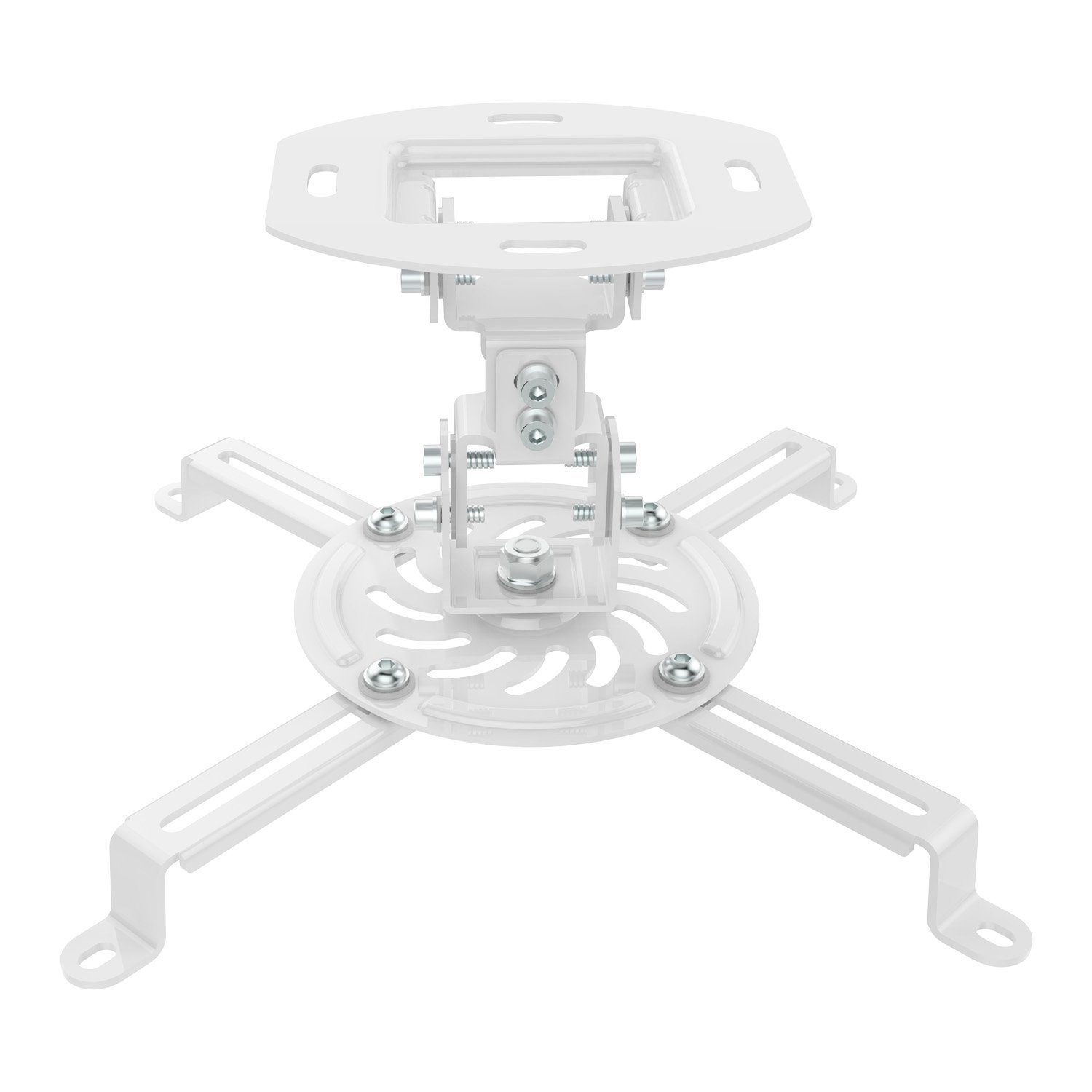 PERLESMITH Universal Projector Ceiling Mount - Home Theater Rotating Projector Mounting Bracket with Swivel - Low Profile Adjustable White Ceiling Projector Mount