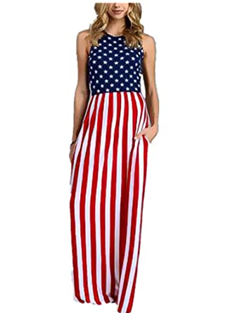 Xuan2Xuan3 Women 4th July Patriotic Flag Independence Day Stars and Stripes USA Long Maxi Dress