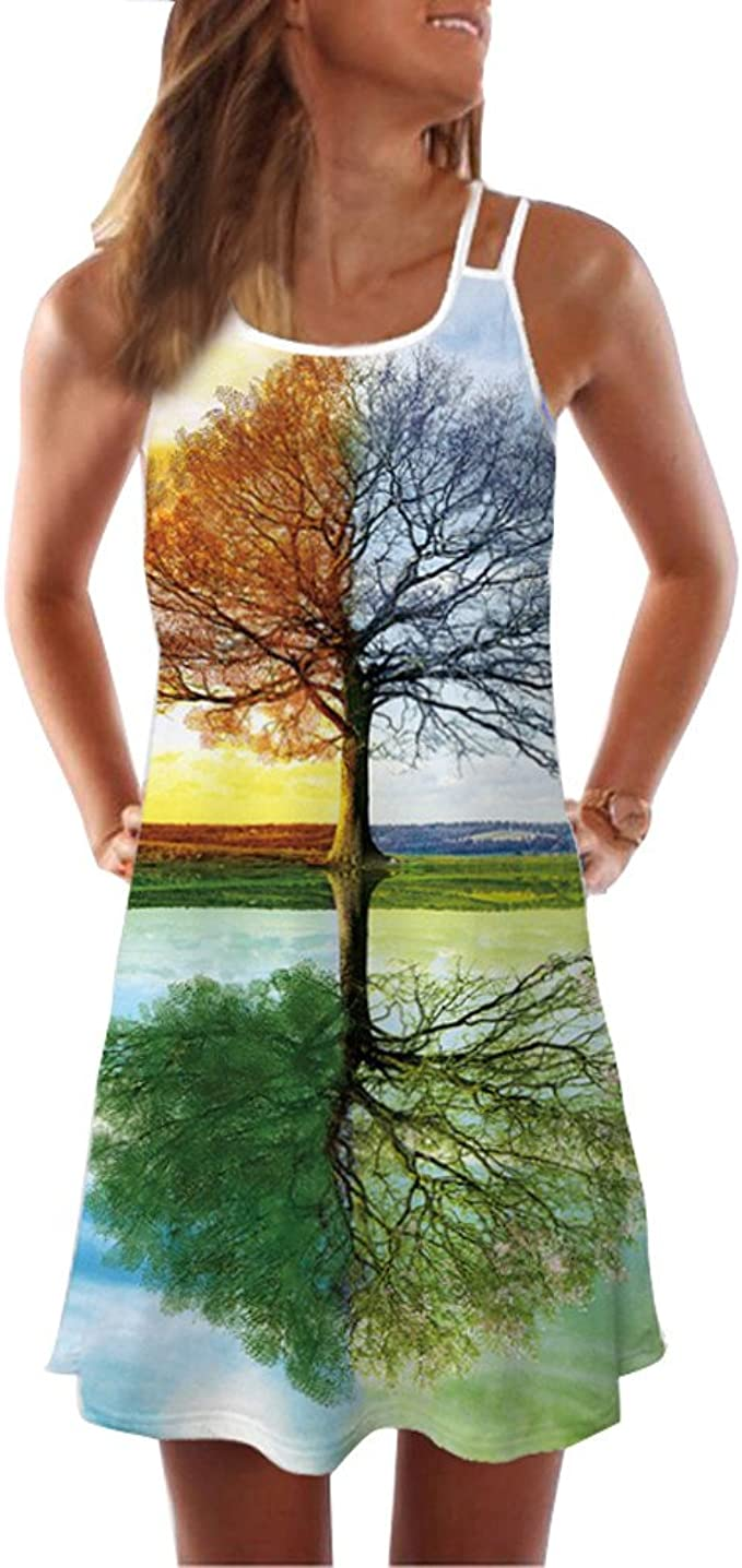 Beclgo Summer Women Vintage Boho Sleeveless Beach Printed Short Mini Dress /…