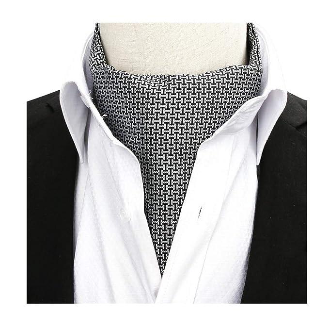 Men S Black Grey Cravat Ties New Design Ascot Formal Scarf Holiday