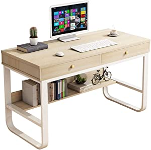 47'' Desktop Computer Desk with 2 Drawers, Home Office Multi-Layer Storage Study Writing Table Computer Gaming Table Bedroom Laptop Study Table Bookcase (47'', Maple Wood, Ship in US)