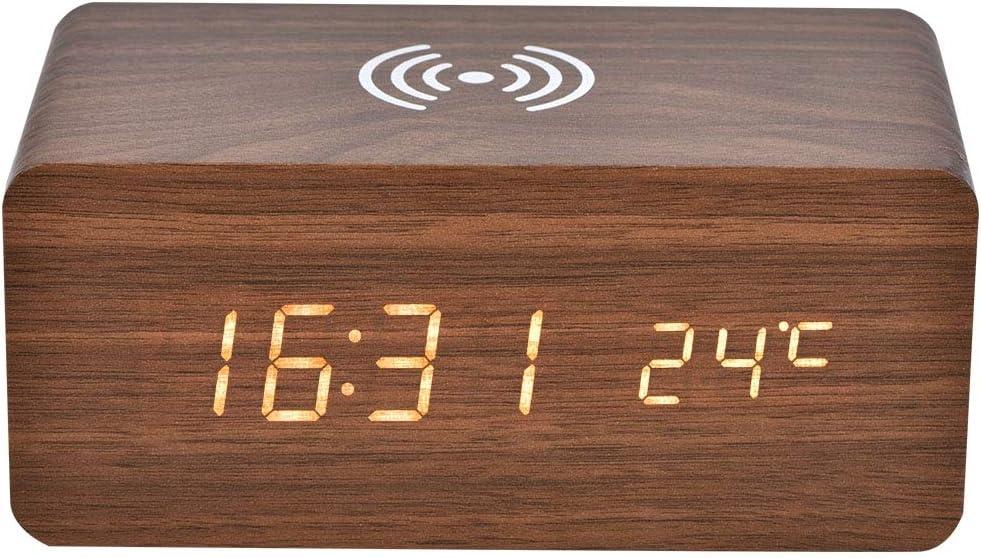 Denash Altavoz Bluetooth portátil, Radio de Alarma de Control de Sonido con LED Espejo Reloj Qi Carga inalámbrica(Madera Marrón + Luz Blanca)