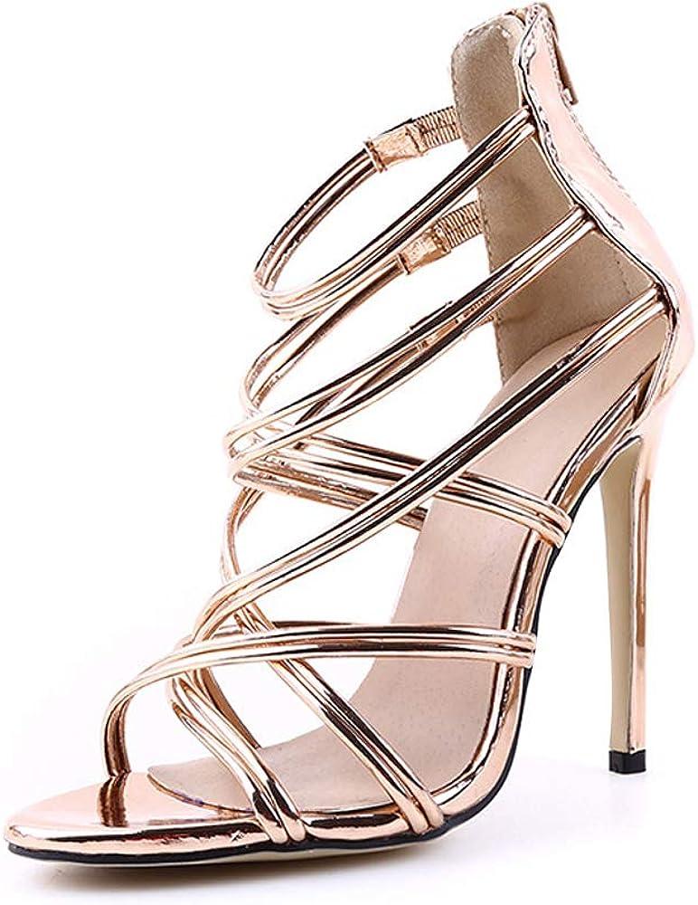 OCHENTA Womens Gladiator Strappy Crisscross Ankle Strap Open Toe Stiletto Heel Sandal