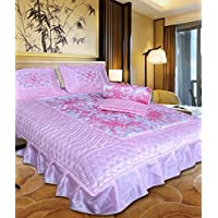 Om Prints Satin Gold printed Double Bed Bedding Wedding set ( Set of 4 pcs) 1 Double bed Bedsheet:: 2 Pillow cover:: 1 Double Bed AC comforter