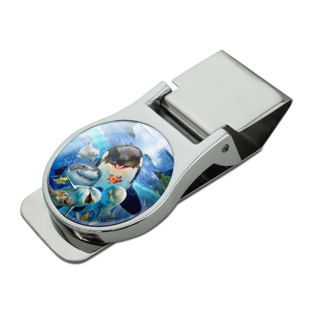Niagara Falls New York Canada Selfie Orca Shark Dolphin Satin Chrome Plated Metal Money Clip