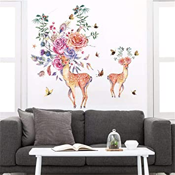 Amazon Com Dtcrzj Creative Hand Painted Flower Deer Animal