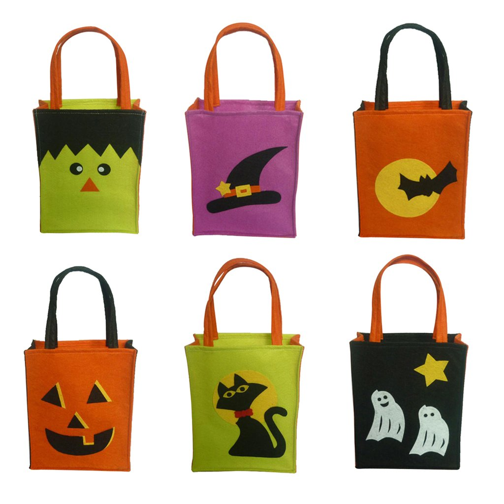 Jili Online Pieces of 6 Non-woven Fabric Mixed Style Halloween Holiday Trick or Treat Loot Tote Bags with Handle Home Party Gift Bags