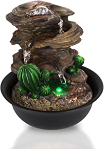 SereneLife 3-Tier Desktop Electric Water Fountain Decor w/ LED - Indoor Outdoor Portable Tabletop Decorative Zen Meditation Waterfall Kit Includes Submersible Pump & 12V Power Adapter