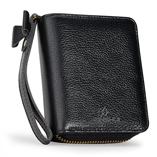 Wrist Strap Wallet RFID Blocking Primely Genuine Leather SHANSHUI Credit Card Zipper Wallet Monther's Day Christmas Gift(Black) by SHANSHUI