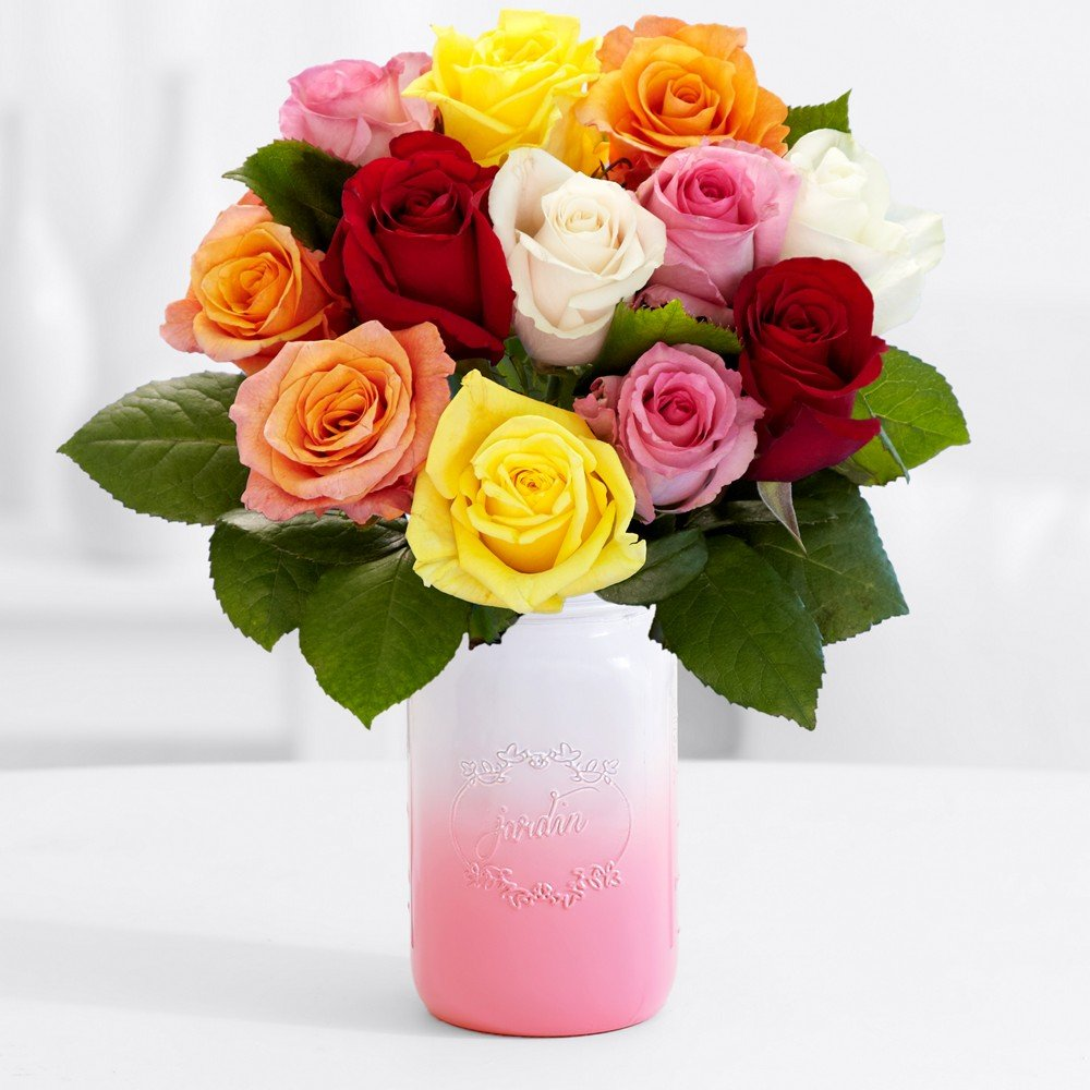 Amazon proflowers 12 count multi colored 12 rainbow mothers amazon proflowers 12 count multi colored 12 rainbow mothers day roses with pink mason jar chocolates wfree clear vase flowers grocery izmirmasajfo