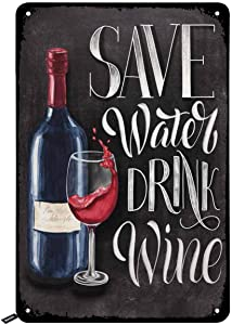 Swono Save Water Drink Wine Tin Signs,Bottle and Glass on Black Chalkboard Background Vintage Metal Tin Sign for Men Women,Wall Decor for Bars,Restaurants,Cafes Pubs,12x8 Inch