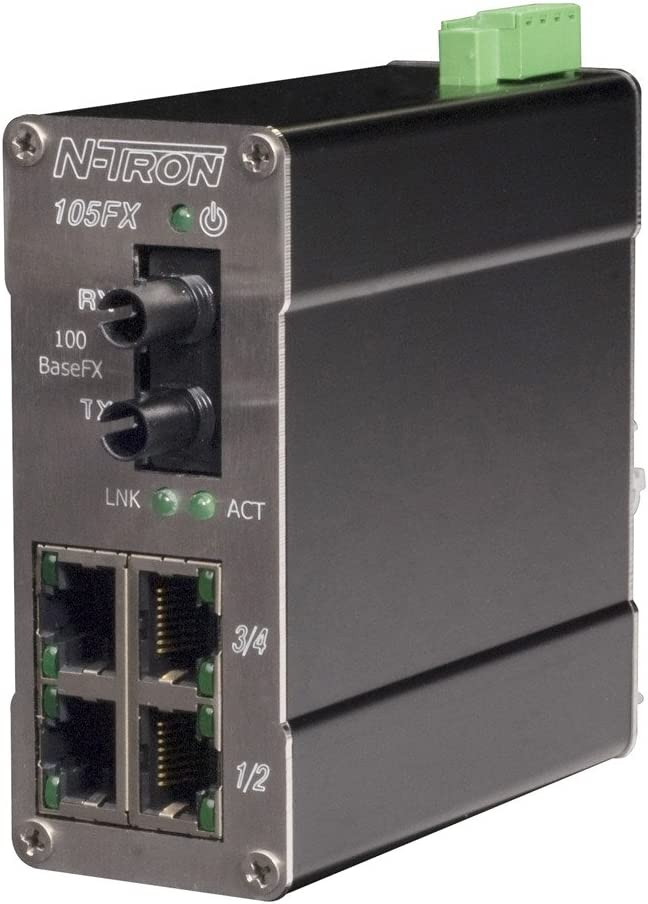Multimode 4 x 10//100BaseTX Metal DIN Rail Connector 1 x 100Base Fiber Uplink Red Lion Controls//N-Tron 105FX-ST-MDR N-Tron 5 Port Ind Ethernet Switch ST Style Connector