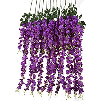 Amazon sunrisee 2 pcs artificial flowers 66ft silk wisteria luyue 318 feet artificial silk wisteria vine ratta silk hanging flower wedding decor6 pieces mightylinksfo
