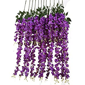 Luyue 3.18 Feet Artificial Silk Wisteria Vine Ratta Silk Hanging Flower Wedding Decor,6 Pieces,(Purple) 41