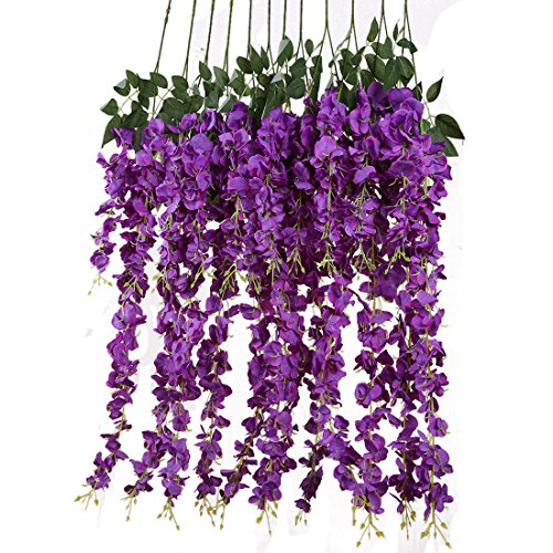 Silk Decor Flowers (Luyue 3.18 Feet Artificial Silk Wisteria Vine Ratta Silk Hanging Flower Wedding Decor,6 Pieces,(Purple))