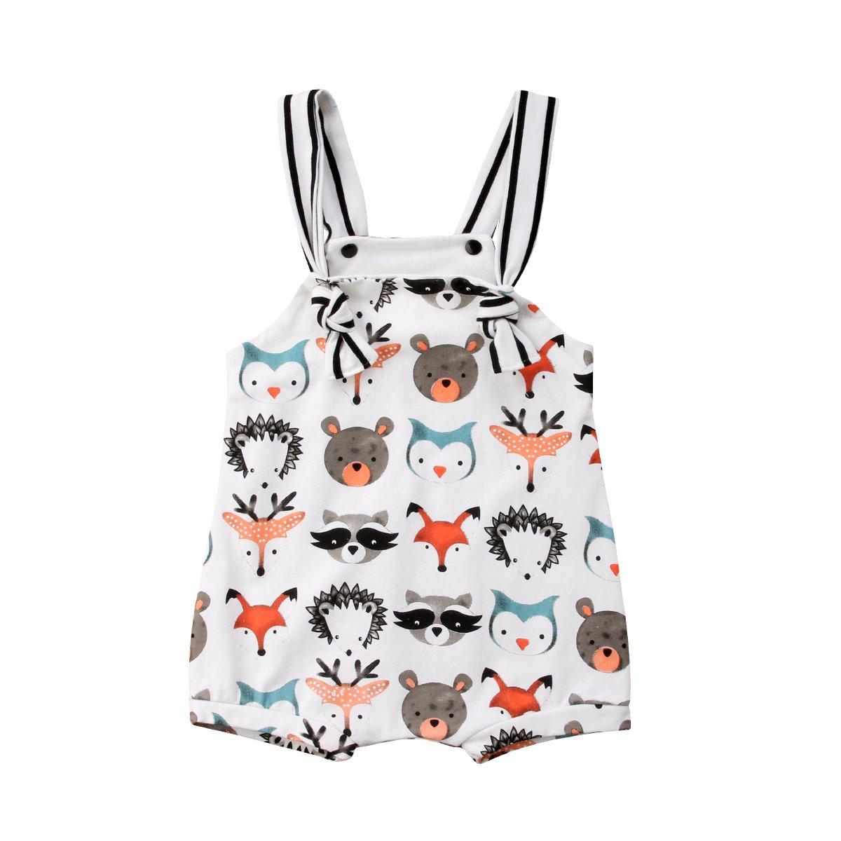 Honganda Cute Newborn Baby Girl Boy Animal Print Sleeveless Romper Jumpsuit One-Piece Bodysuit (White, 6-12 Months)
