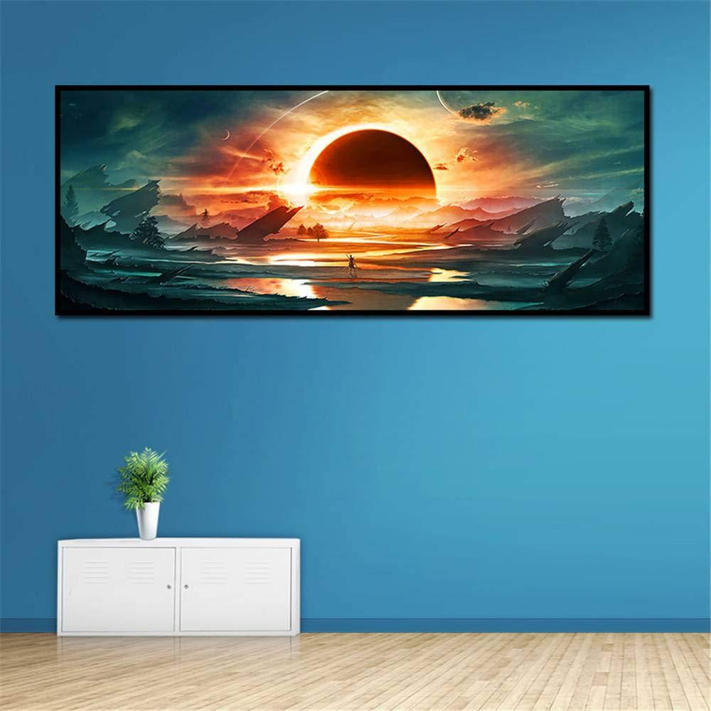 BFY Frameless Huge Wall Art Oil Painting On Canvas The Sun Kindled Sky Home Decor