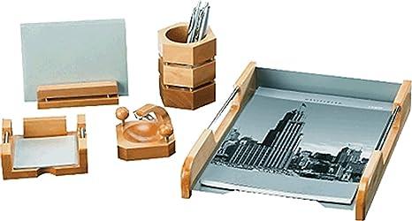 Set Ufficio Legno : Rumold set da scrivania pezzi legno naturale argento