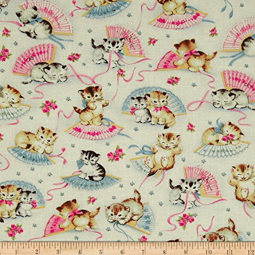 Michael Miller Smiten Kittens Cream Fabric By The Yard - Michael Miller Cream
