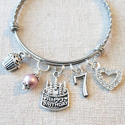 7th BIRTHDAY GIRL BRACELET Birthday Charm Bracelet 7 Year Old Daughter Gift