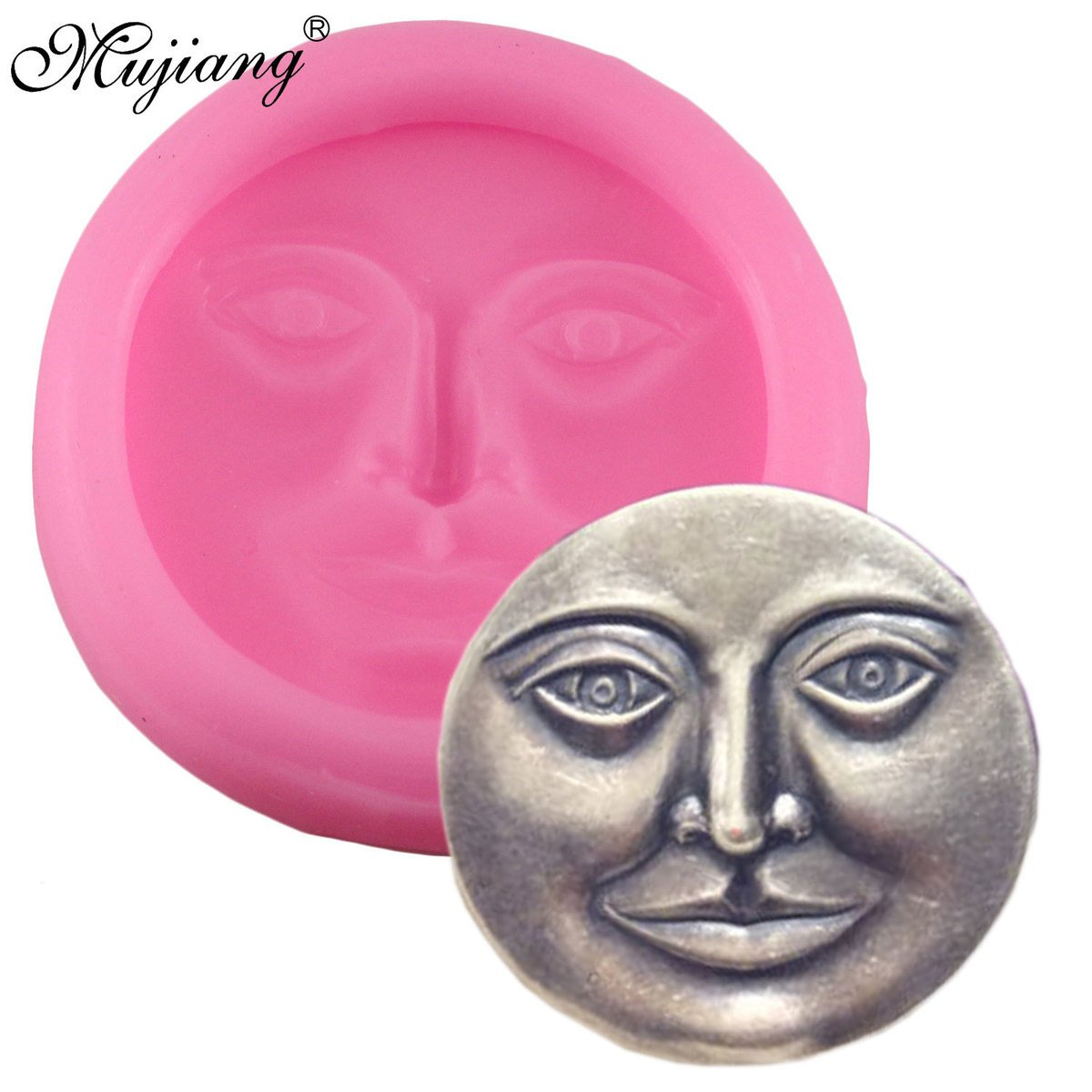 Star Trade Inc - Moon Face Silicone Mould DIY Soap Candy Chocolate Fimo Clay Mold Kitchen Baking Sugarcraft Fondant Cake Decoration Tools ( 1 pcs)