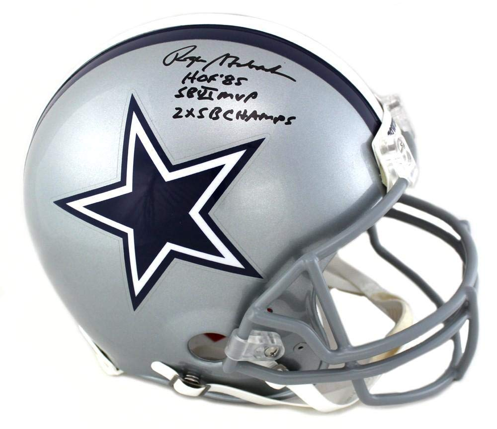 32bf5e2dcf6 Amazon.com: Roger Staubach Signed Dallas Cowboys Riddell Authentic NFL  Helmet With