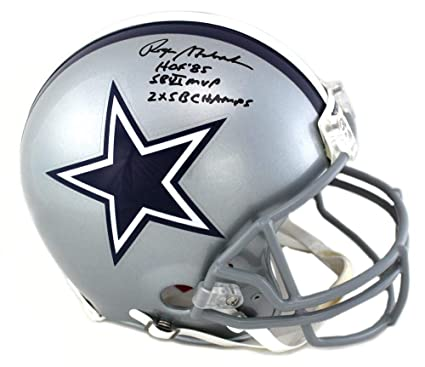 """68b8bcda5a2 Image Unavailable. Image not available for. Color: Roger Staubach Signed Dallas  Cowboys Riddell Authentic NFL Helmet With""""HOF 85 ..."""