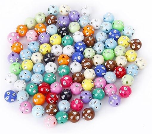 Lot de 100 Perles en Plastique Acrylique Colorees avec Strass de Scintillement 1