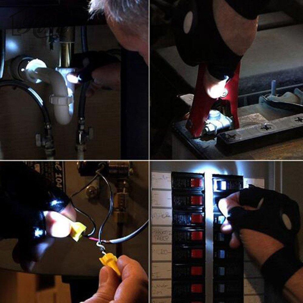 Lampe de poche LED Mitaines LED Magic Sangle Gants avec 2/lumi/ère LED pour la p/êche r/éparer main droite travailler dans lobscurit/é des lieux et activit/és de plein air. le camping